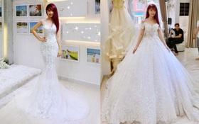 Khởi My được khen hết lời khi diện bộ váy cưới đính 8000 viên pha lê