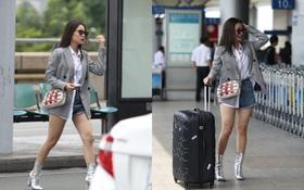 Chi Pu diện trang phục sành điệu, xuất hiện tươi tắn ở sân bay để sang Mỹ dự sự kiện
