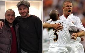 """Giữa scandal """"làm từ thiện giả tạo"""", Beckham tươi cười bên người anh em Roberto Carlos"""