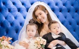 """2 """"thiên thần"""" Cadie và Alfie đáng yêu khi diện áo cưới cùng mẹ Elly Trần"""