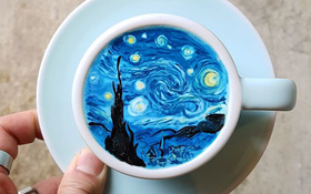 15 bức tranh tuyệt đẹp được vẽ trên tách cà phê
