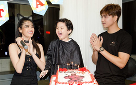Trương Quỳnh Anh hoá miêu nữ gợi cảm, cùng Tim tổ chức sinh nhật cho con trai