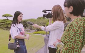 Mẫn Tiên xuất hiện xinh đẹp và gây chú ý trên đài truyền hình của Nhật Bản