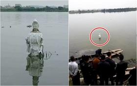 Trung Quốc: Bức tượng Quan Thế Âm Bồ Tát bí ẩn đột ngột nổi lên giữa dòng sông
