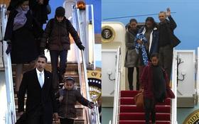 Lần cuối cùng, gia đình Tổng thống Barack Obama trở về sau kỳ nghỉ bằng chuyên cơ Air Force One
