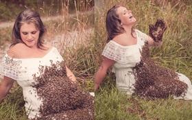 Bộ ảnh mang bầu khiến người xem sởn gai ốc: 20,000 con ong vây quanh cơ thể người mẹ