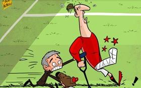 Hí họa Mourinho bắt Ibra đá bóng với cái chân bó bột