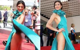 """Nữ diễn viên vô danh diện váy hở bạo trở thành """"bà hoàng thảm đỏ"""" tại Cannes"""