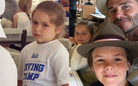 Harper Beckham xuất hiện phúng phính đáng yêu khi đi ăn cùng gia đình