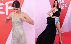 Bella mải xốc váy vì sợ lộ hàng, Kendall diện cả quần short đi thảm đỏ Cannes