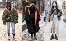 """Street style Hàn Quốc: Mặc vài ba chiếc áo khoác to sụ cùng lúc chẳng """"hâm"""" chút nào mà lại """"chất"""" hết nấc"""