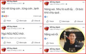 """Thời """"trẻ trâu"""" của Duy Mạnh U23: viết FB chỉ toàn than thở về chuyện nắng mưa, ăn ngủ, lại còn teencode"""