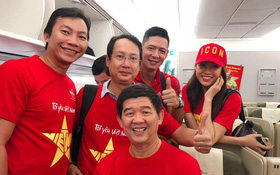 Á hậu Lệ Hằng, Bình Minh mặc áo cờ đỏ sao vàng, cùng lên
