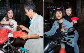 Ngọc Trinh, Linh Chi và Lâm Vinh Hải đi xe máy phát quà cho người dân trong đêm Giao thừa
