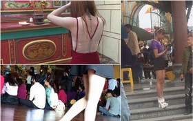 """Ngán ngẩm hình ảnh các thiếu nữ ăn mặc """"thiếu vải"""" đi chùa đầu năm"""