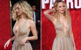 Diện đầm công chúa lộng lẫy, nhưng vòng 1 chảy xệ của Jennifer Lawrence mới gây chú ý nhiều nhất