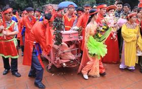 """Lễ chém lợn ở Ném Thượng: Sau khi đưa rước quanh làng, hai """"ông ỉ"""" được đem vào nơi kín đáo để """"trảm"""""""