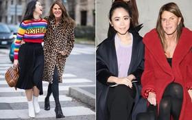Fashionista Nga Nguyễn chính là bạn đồng hành trên ghế đầu mọi show diễn với Anna Dello Russo - một trong những Tổng biên tập thời trang quyền lực nhất thế giới
