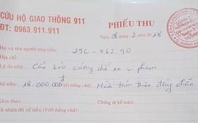CSGT gọi xe cẩu đưa về nơi tạm giữ, chủ xe vi phạm phải trả phí 18 triệu đồng