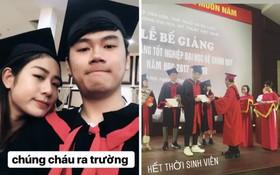 Vợ chồng Tùng Sơn và Trang Lou khoe ảnh cùng nhau khoác áo cử nhân, tốt nghiệp ĐH Mỹ Thuật