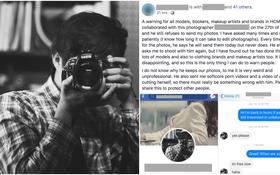 Một nhiếp ảnh gia tên tuổi bị hàng loạt người mẫu Tây tố làm việc thiếu chuyên nghiệp, gửi clip nhạy cảm để trêu đùa
