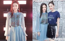 """Tần Lam và Vương Viện Khả bất ngờ tái ngộ tại Milan Fashion Week: """"Phú Sát Hoàng hậu"""" đẹp xuất sắc, lấn át cả """"Thuần Phi"""""""