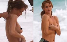 Cựu thiên thần Victoria's Secret hớ hênh vòng 1, lộ eo ngấn mỡ trên bãi biển