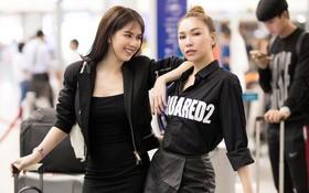Ngọc Trinh gợi cảm với váy bó sát, Quỳnh Thư diện đồ cá tính lên đường dự Tuần lễ thời trang Milan