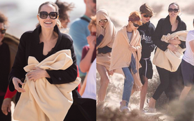 Angelina Jolie đưa con đi chơi mà như quay phim: Nổi bần bật dù lộ body gầy gò, sóng đôi bên bạn diễn siêu phẩm Marvel mới