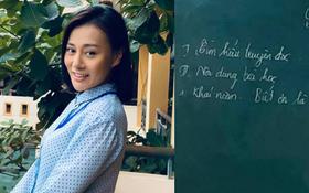 """""""Quỳnh Búp bê"""" Phương Oanh bỏ ngành đi làm giáo viên nhưng sao chữ """"cô"""" hơi í ẹ?"""