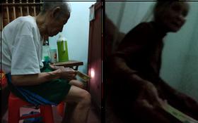 Hình ảnh ông bà nội già yếu, tay run run dúi tiền cho đứa cháu lên thành phố học gây xúc động mạnh