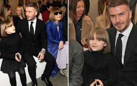 Ngồi ghế đầu dự show của mẹ Vic, bé Harper chiếm hết spotlight với diện mạo hệt như phiên bản nhí của Tổng biên tập Anna Wintour