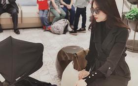 Hoa hậu Đặng Thu Thảo khiến dân tình chú ý khi lên đồ sang chảnh ngồi trông con ngày lễ