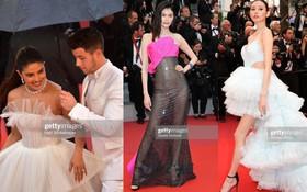 """Thảm đỏ Cannes nhường spotlight cho Nick Jonas cung phụng Hoa hậu, Sui He gây sốc như """"không mặc gì"""""""