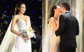 MC Phương Mai khoe ngực đầy, hôn đắm đuối ông xã Tây trong đám cưới hoành tráng tại Hà Nội