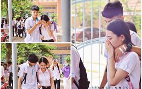 Khoảnh khắc nam sinh ôm vỗ về, động viên nữ sinh bật khóc sau buổi thi Ngữ văn gây bão MXH