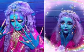"""Dành trọn tình yêu cho phim viễn tưởng, cô gái đều đặn mỗi ngày """"hóa phép"""" để biến toàn thân thành màu xanh hệt như phim Avatar"""