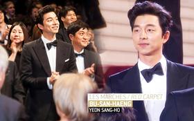 """Hot lại loạt ảnh tài tử """"Train to Busan"""" Gong Yoo như người khổng lồ tại LHP Cannes, camera phóng viên quốc tế không dìm nổi"""