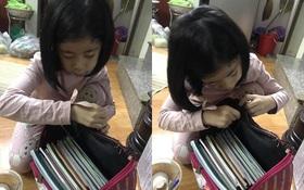 Cô bé 6 tuổi tự khâu cặp sách bị hỏng, nghe người mẹ giải thích mới thấy đáng yêu quá chừng!