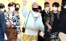 BTS đổ bộ sân bay sang Mỹ dự hội nghị Liên Hợp Quốc: V - Jungkook lên đồ rực rỡ, kéo xuống quần J-Hope mà bật ngửa