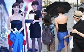 Sợ hớ hênh, Vương Lạc Đan nhờ quản lý giữ váy