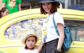 """Mi Vân và con gái diện áo đôi đi gặp """"Minions"""""""