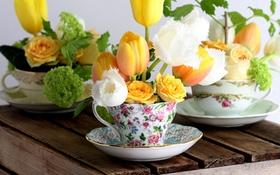 Cắm hoa vào tách trà đơn giản mà xinh