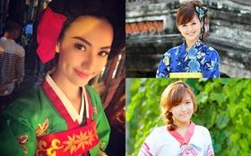 Ngắm hot girl Việt xinh lạ lẫm trong quốc phục nước bạn