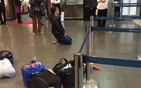 Hà Nội: Hành khách quỳ sụp xuống ở sân bay Nội Bài vì nhỡ chuyến bay gây xôn xao