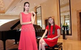 Hai quán quân Next Top Model diện đồ đỏ rực