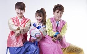 Khởi My nhí nhảnh diện Hanbok cùng với La Thăng