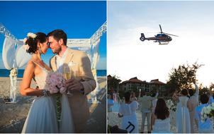 Hà Anh và ông xã đáp trực thăng xuống lễ cưới bãi biển