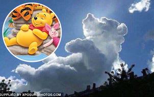 Đám mây hình chú gấu Winnie the Pooh xuất hiện trên bầu trời trong một sự kiện từ thiện cho trẻ em