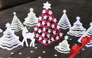Cắt giấy thành 3 kiểu cây thông làm 5' là xong